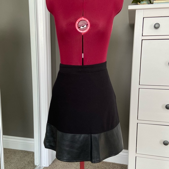 Ann Taylor Leather Trimmed A-Line Skirt